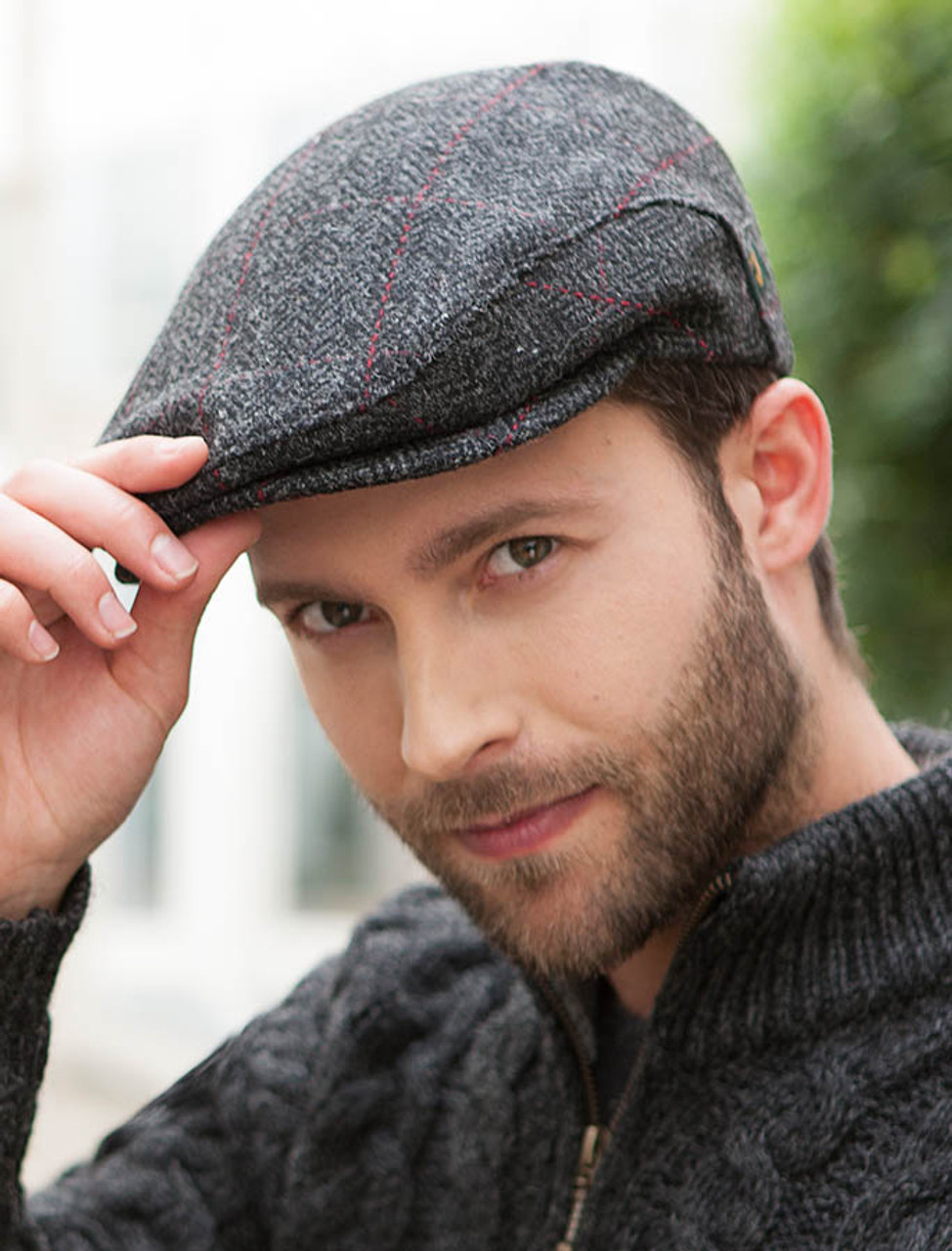 Trinity Tweed Flat Cap Charcoal With Red Mucros Weavers