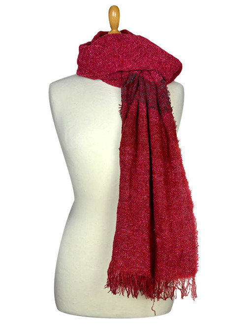 Fine Lambswool Celtic Stole - Rich Red