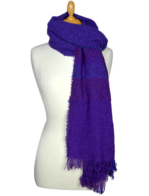 Fine Lambswool Celtic Stole - Purple Wine