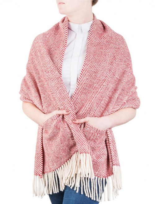 Herringbone Woven Wrap - Red
