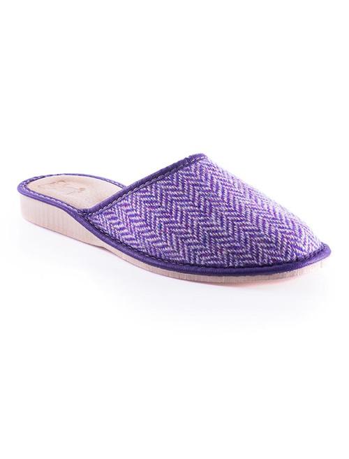 Womens Tweed Slippers - Purple Herringbone