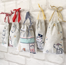 Christmas Street - Drawstring Advent Pouches Panel