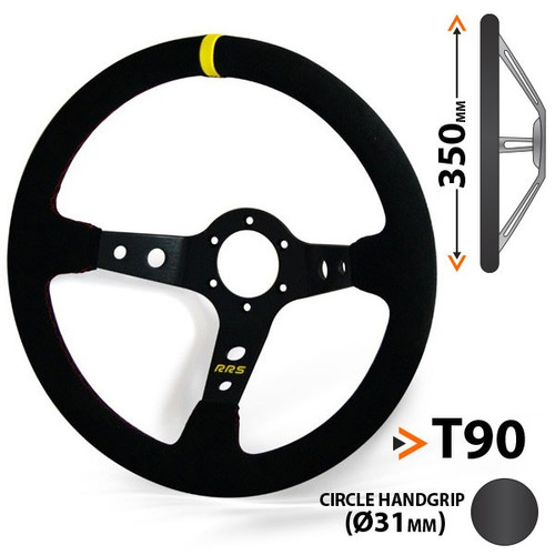 RRS RALLY 3-Spoke Dished Suede Steering Wheel - EARS Motorsports. Official stockists for RRS-1026046006