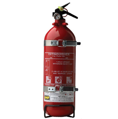 OMP Aluminium 2kg Powder Extinguisher - EARS Motorsports. Official stockists for OMP-CAB/316