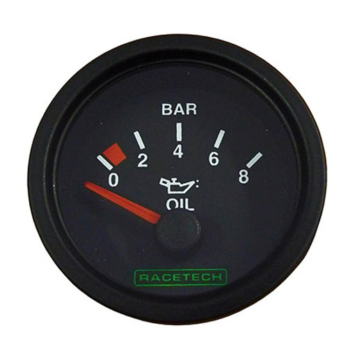 Racetech Oil Pressure Gauge 0-8 Bar - EARS Motorsports. Official stockists for Racetech-RTEOP8