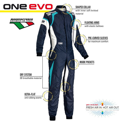OMP ONE EVO Racesuit - EARS Motorsports. Official stockists for OMP-IA01851