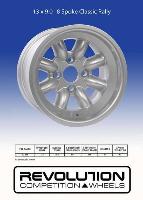 Revolution 9x13 8-Spoke Wheel - EARS Motorsports. Official stockists for Revolution-RVC927L4F2-12791xAO