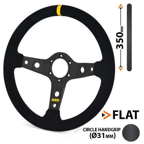 RRS Carbon Flat Suede Steering Wheel