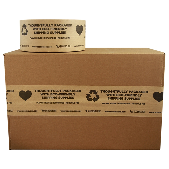 """2.75""""x 450 ft - Water-Activated Tape - Kraft Paper Reinforced - Printed """"Thoughtfully Eco-Friendly""""- Single Roll"""