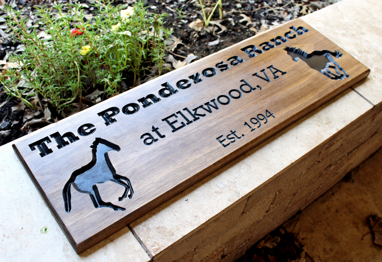personalized wooden horse ranch sign