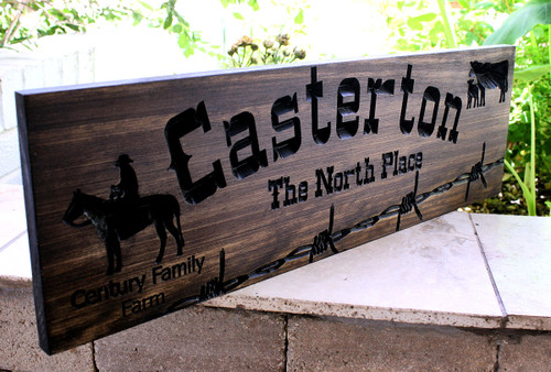 Farm / Ranch Sign with barbed wire