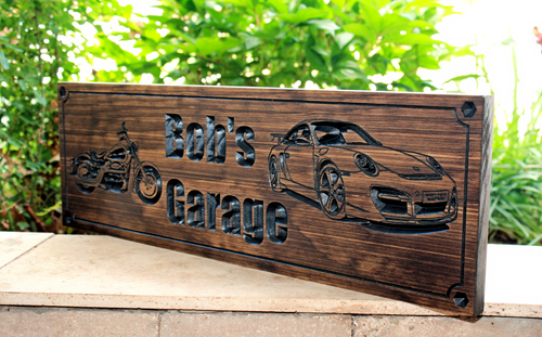 Garage Sign with Harley and Porsche (CWD-463)