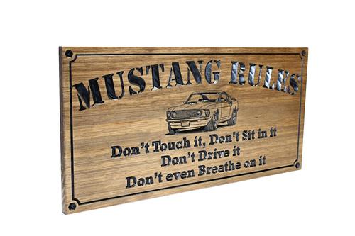 wooden garage sign