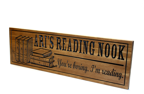 book reading nook corner wooden sign
