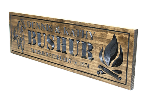 Campfire sign with horse-Farm Sign-Ranch sign-Family name Sign-Wedding Sign-Marriage Sign-Wedding date sign-last name family sign