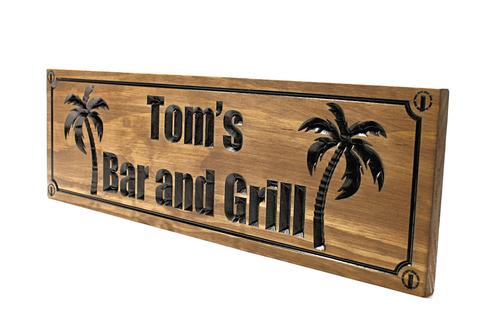 Palm tree beach sign