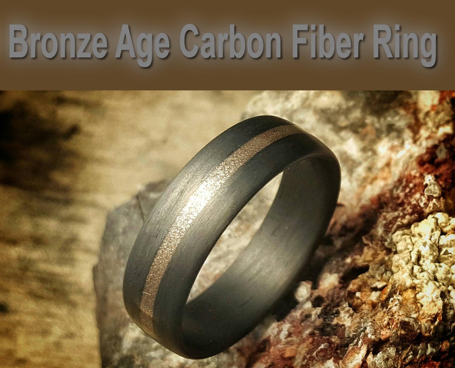 Bronze Age, 7mm wide, Carbon Fiber Ring.