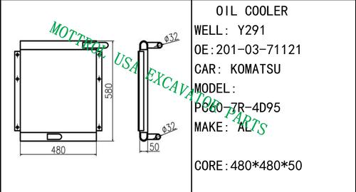 Aluminum Hydraulic Oil Cooler for Komatsu Excavator PC240