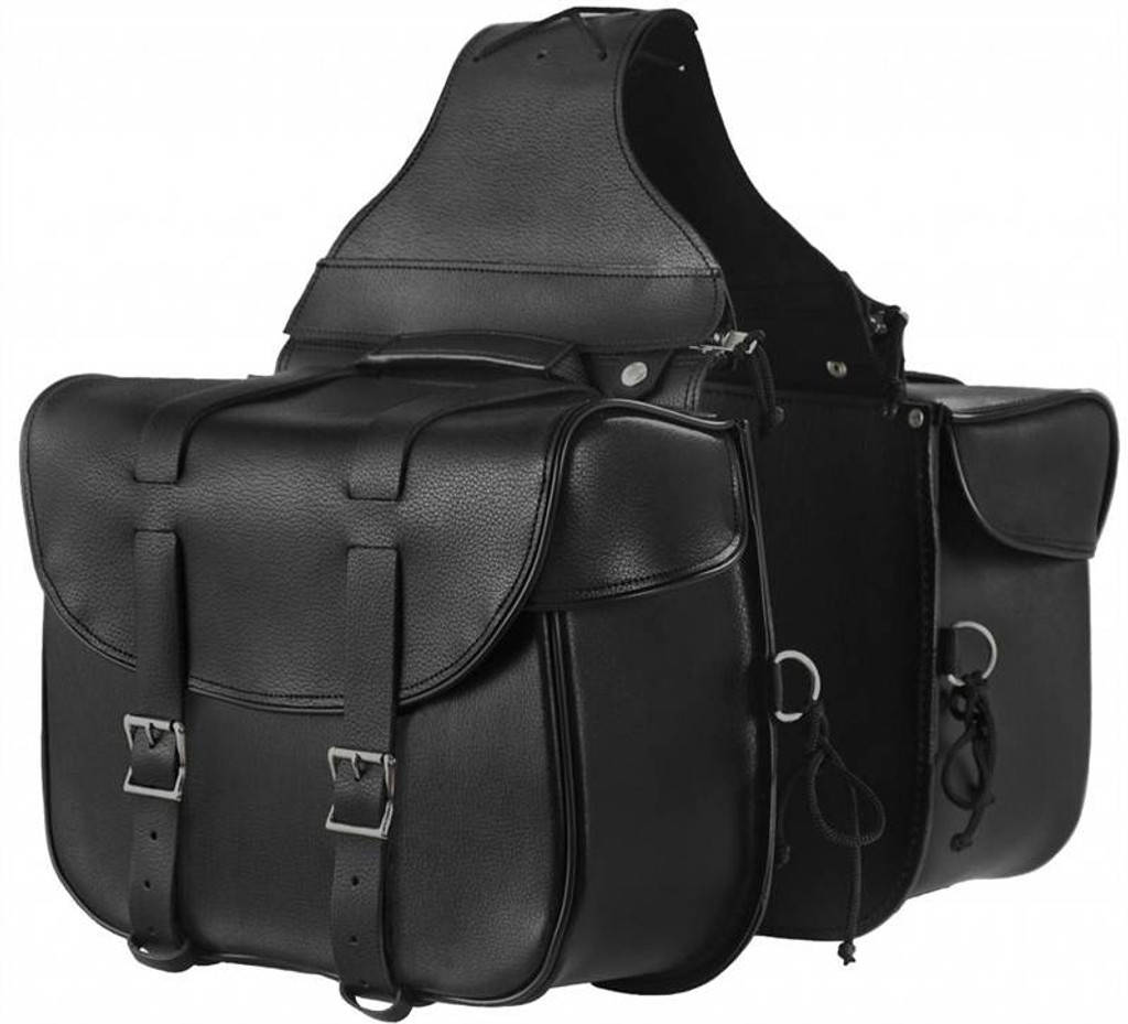 True Element TEBU44001BCL Traditional Style Motorcycle Leather Saddle Bag with Quick Release Clips