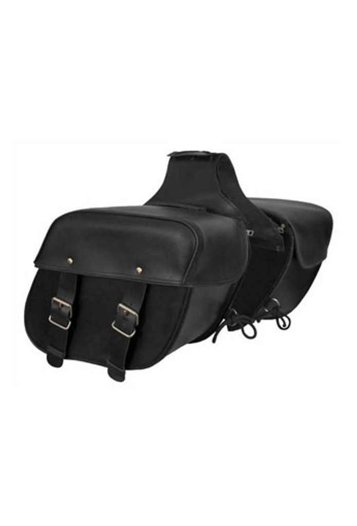 True Element TEBU44008BCL Genuine Leather Motorcycle Saddlebag with Quick Release Clips (Black)