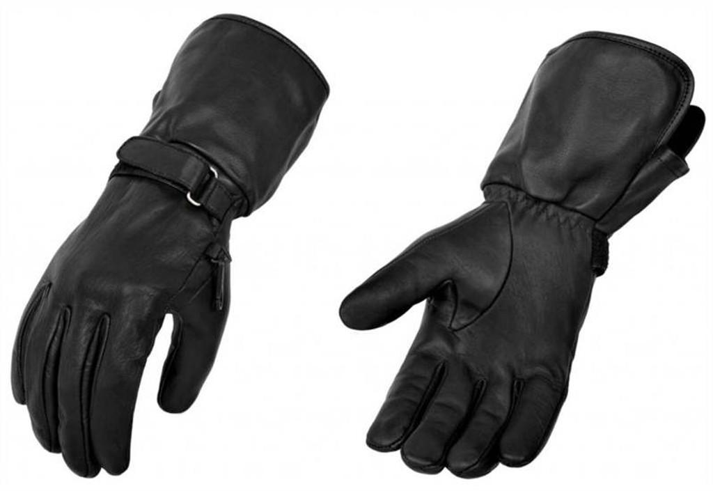 True Element Mens All-Weather Motorcycle Gauntlet Glove (Black, Sizes S-2XL)