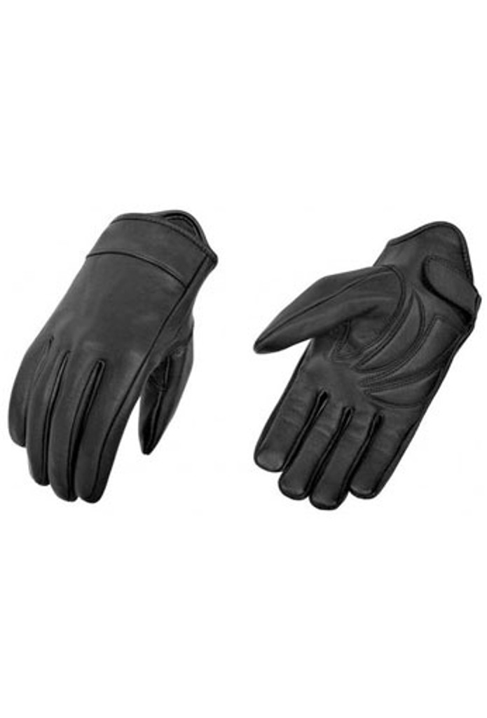 True Element Mens Light Weight Lined Motorcycle Driver Glove with Gel Palm Padding (Black, Sizes S-2XL)