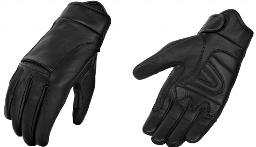 True Element Mens Motorcycle Driver Glove with Light Lining and Knuckle Tension Release Design (Black, Sizes S-2XL)