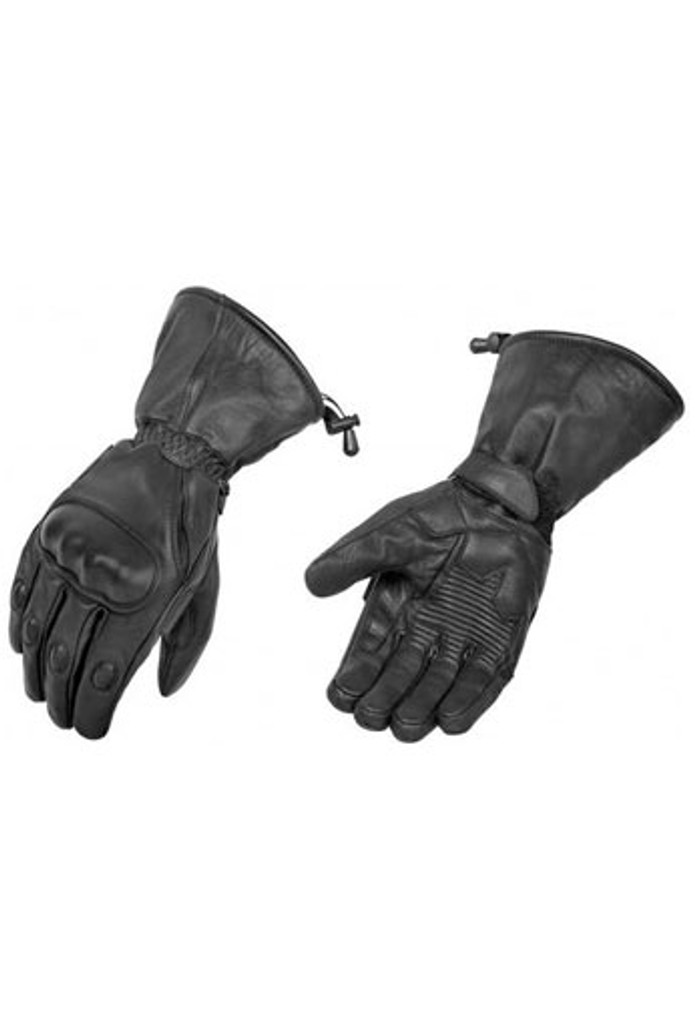 True Element Mens Motorcycle Gauntlet Glove with Knuckle Protection and Water Resistant Insert (Black, Sizes S-2XL)
