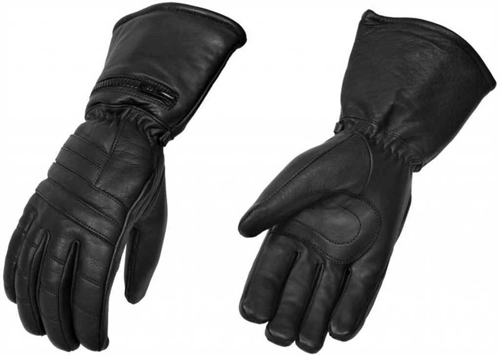 True Element Mens Premium Motorcycle Gauntlet Glove with Rain Over-Mit and High Performance Insulation (Black, Sizes S-2XL)