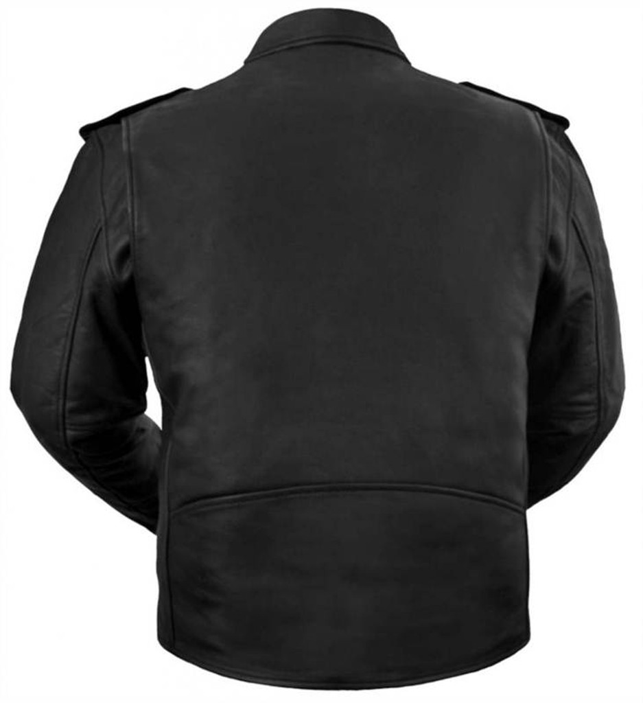True Element Mens Basic Motorcycle Leather Jacket (Black, Sizes S-5XL)