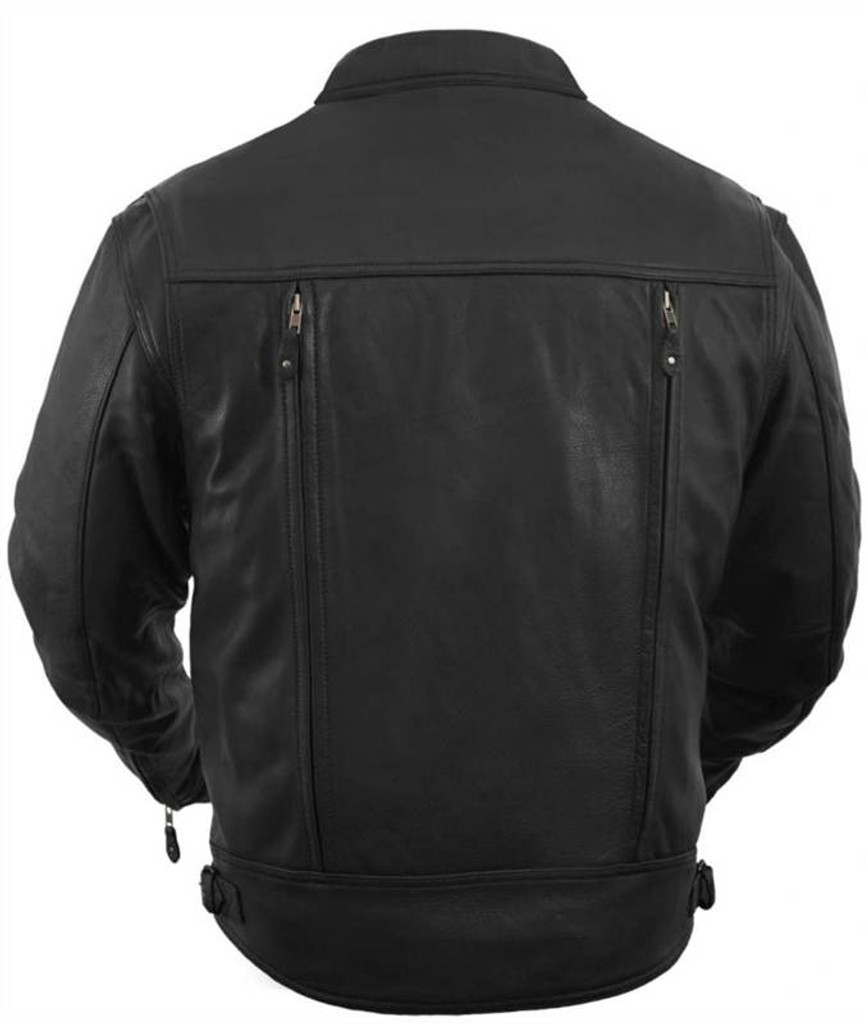 True Element Mens Premium Asymmetrical Leather Motorcycle Jacket with Utility Pockets (Black, Sizes S-5XL)