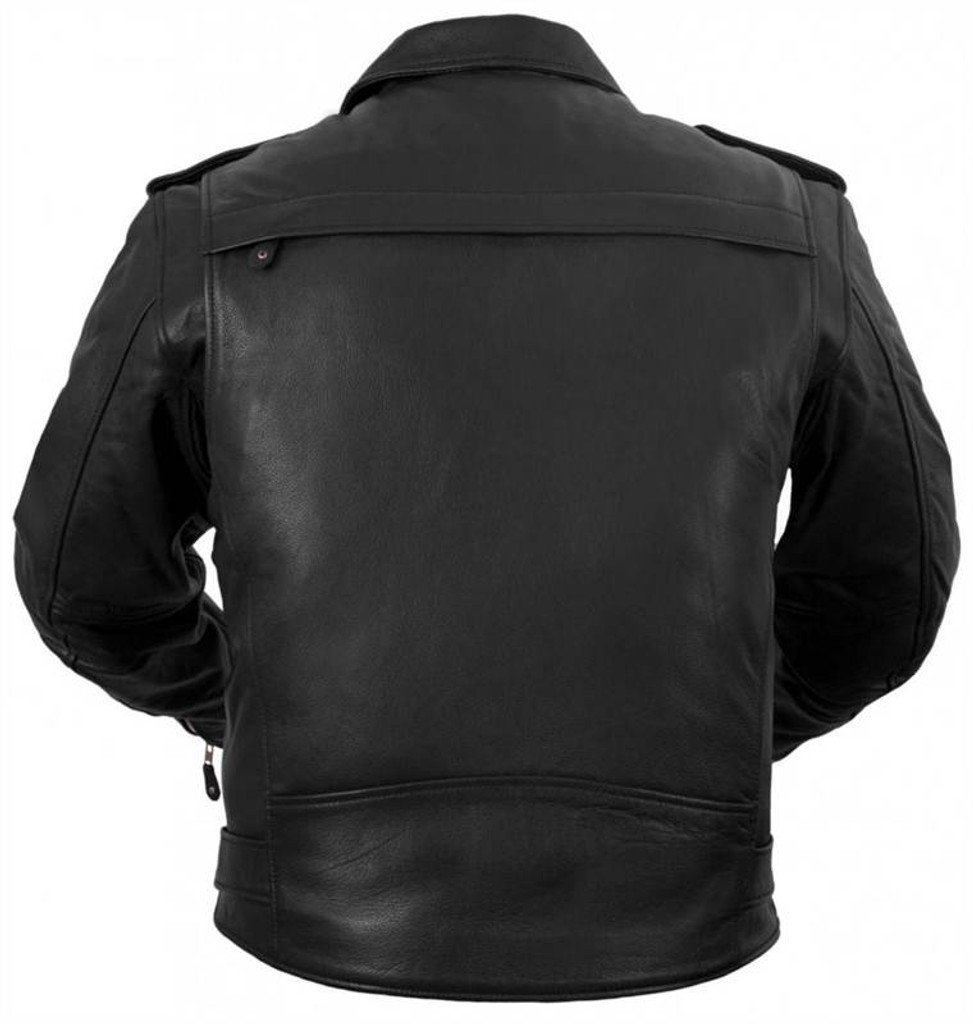 True Element Mens Traditional, Vented Leather Motorcycle Jacket (Black, Sizes S-5XL)