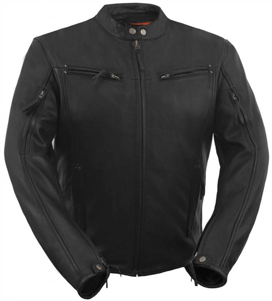 True Element Mens Modern Fit Vented Scooter Collar Motorcycle Leather Jacket (Black, Sizes S-5XL)