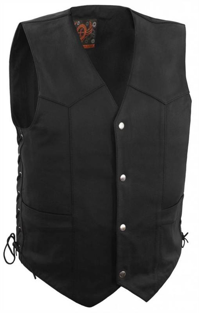 True Element Mens Basic Side Lace Adjustment Leather Motorcycle Vest (Black, Sizes S-5XL)