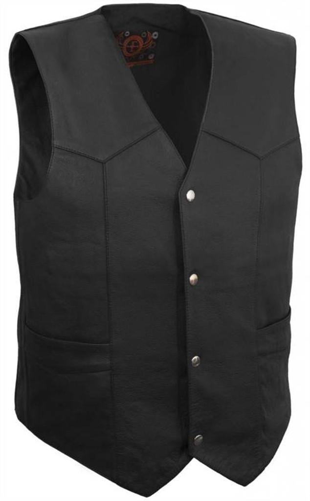 True Element Mens Classic Leather Motorcycle Vest (Black, Sizes S-5XL)