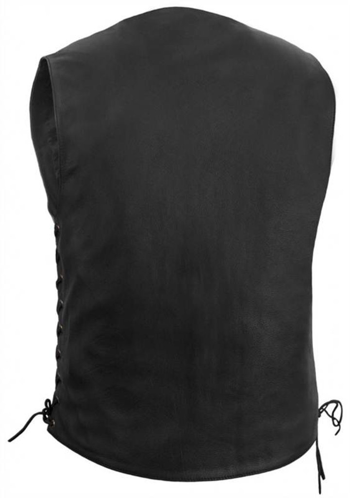 True Element Mens 10 Pocket Traditional Motorcycle Leather Vest (Black, Sizes S-5XL)