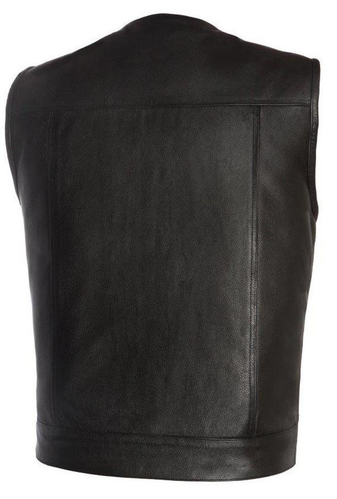 True Element Mens Round Neck Collarless Leather Motorcycle Vest (Black, Sizes S-5XL)