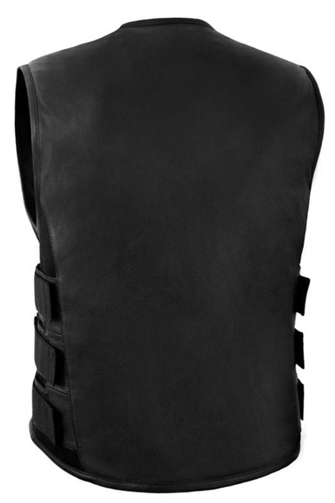 True Element Mens Swat Team Style Leather Motorcycle Vest with Side Size Adjustment (Black, Sizes S-5XL)