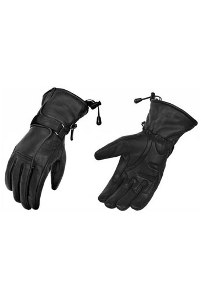 True Element Womens Motorcycle Leather Gauntlet Glove with Water Resistant Insert (Black, Sizes S-2XL)