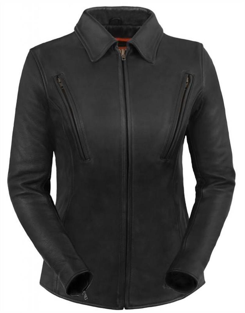 True Element Womens Premium  Longer Length Leather Motorcyle Jacket (Black, Sizes XS-3XL)