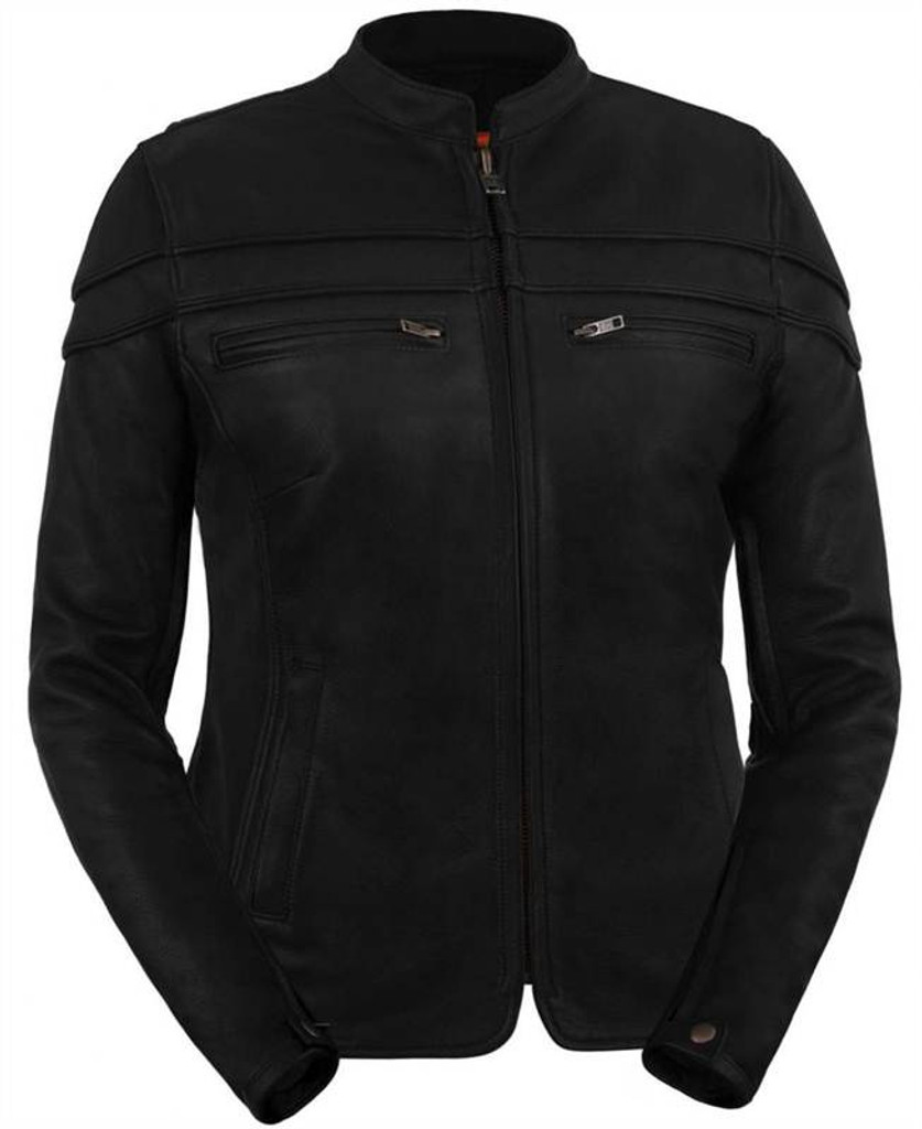 True Element Womens Premium Leather Vented Scooter Collar Leather Motorcycle Jacket (Black, Sizes XS-3XL)