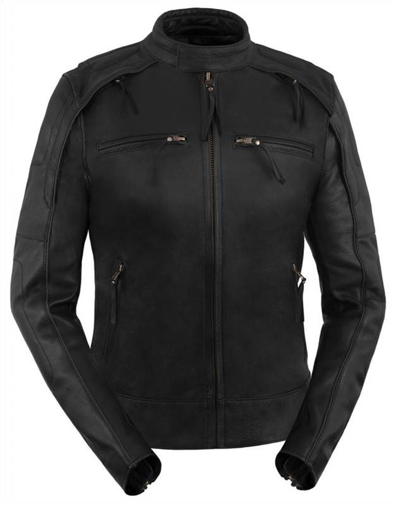True Element Womens Scooter Collar Leather Motorcycle Jacket With Reflective Piping (Black, Sizes XS-3XL)