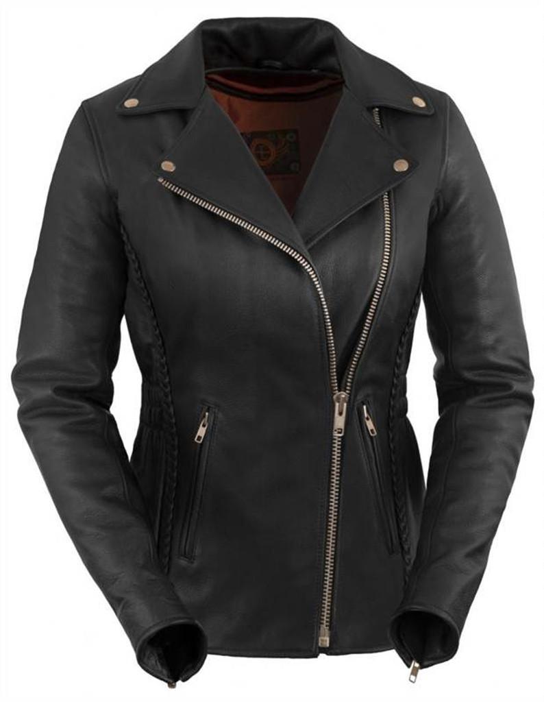 True Element Womens Premium Braided Motorcycle Leather Jacket (Black, Sizes XS-3XL)
