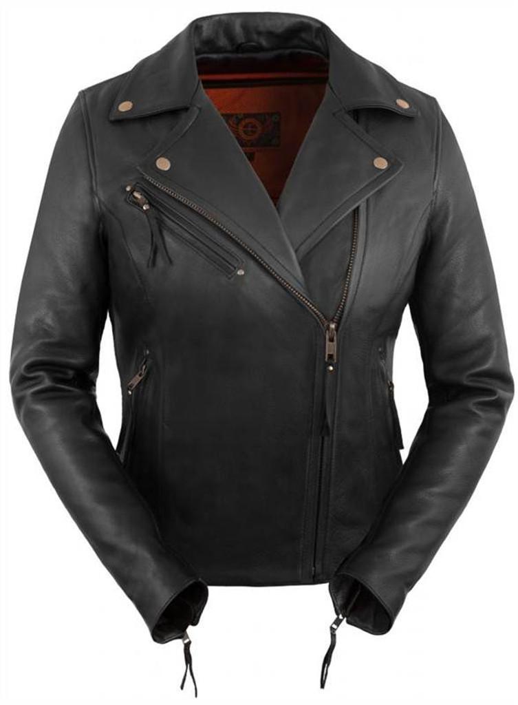 True Element Womens Premium Vented Asymmetrical Motorcycle Leather Jacket (Sizes XS-3XL)