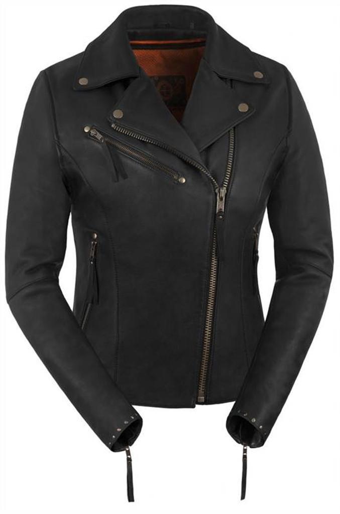 True Element Womens Premium Riveted Asymmetrical Motorcycle Leather Jacket (Black, Sizes XS-3XL)
