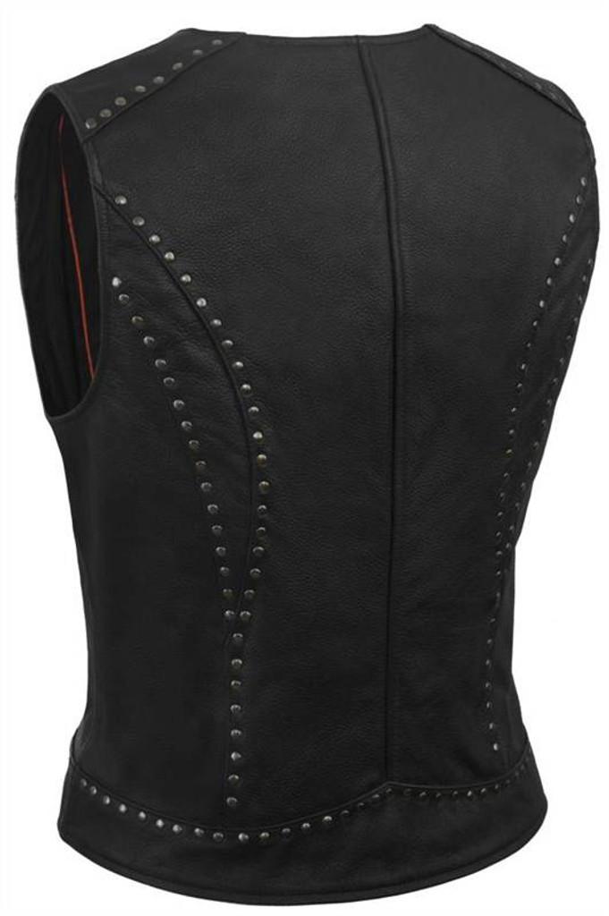 True Element Womens Rivet Accented Zip Front Motorcycle Leather Vest (Black, Sizes XS-3XL)