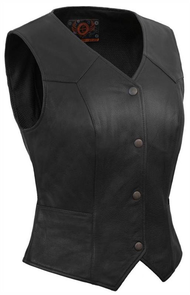 True Element Womens Classic Snap Front Motorcycle Leather Vest (Black, Sizes XS-3XL)