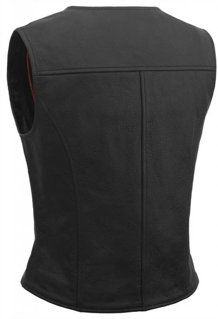 True Element Womens Premium Longer Length Motorcycle Leather Vest (Black, Sizes XS-3XL)