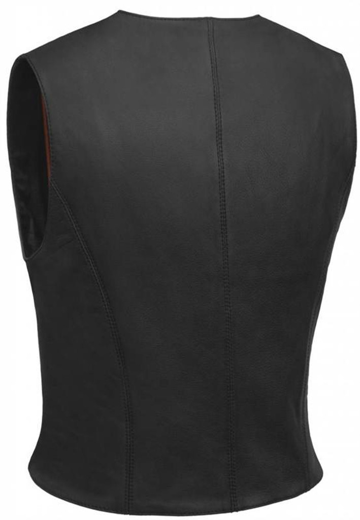 True Element Womens Premium Snap Front Fitted Motorcycle Leather Vest (Black, Sizes XS-3XL)
