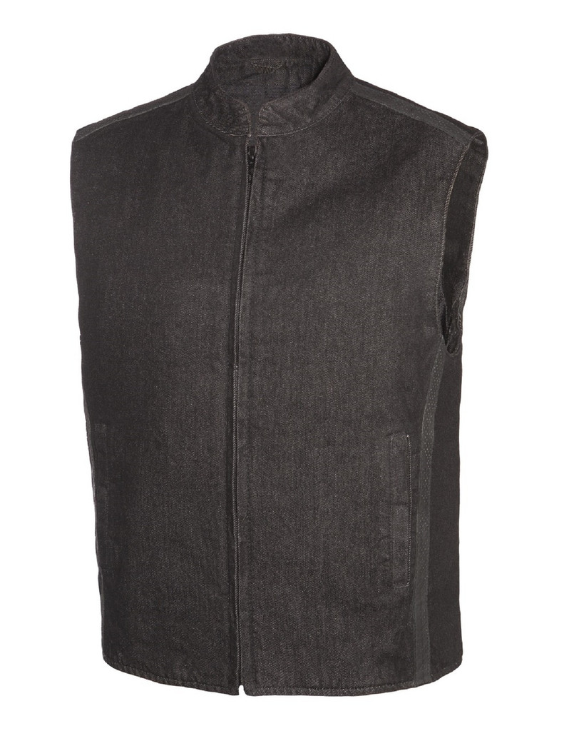 True Element Mens Scooter Collar Denim Club Style Vest with Leather detail and Concealed Carry Pockets (Black, Size S-5XL)
